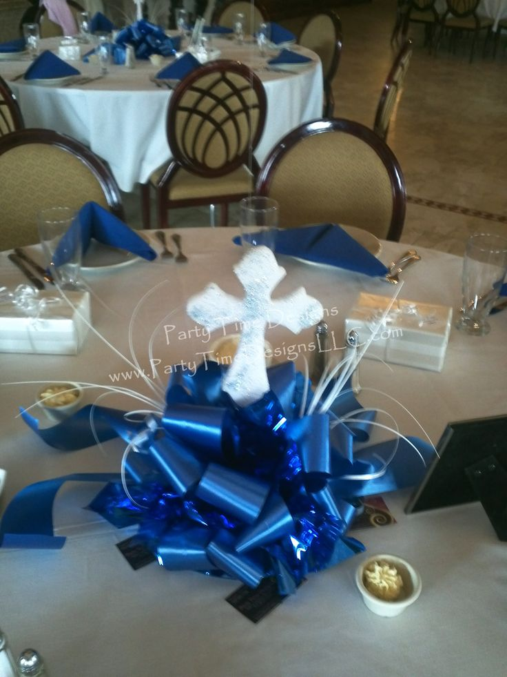 Bow cluster centerpiece with glitter cross balloons for