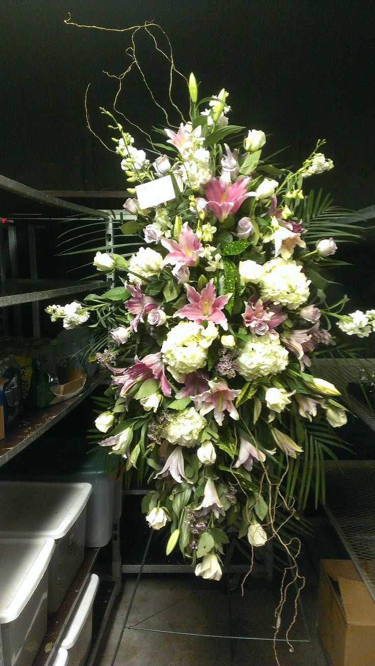 16 best sympathy floral collection images on pinterest funeral funeral spray in pink and white americasflorist izmirmasajfo Choice Image