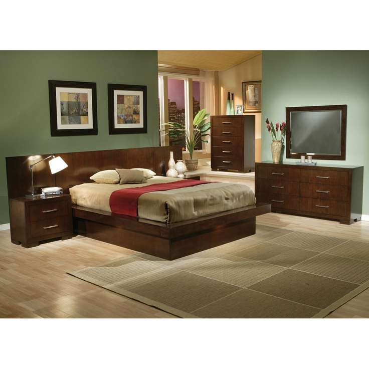 dimora bedroom set%0A Jessica Platform Bed   Piece Bedroom Set in Cappuccino Finish by Coaster