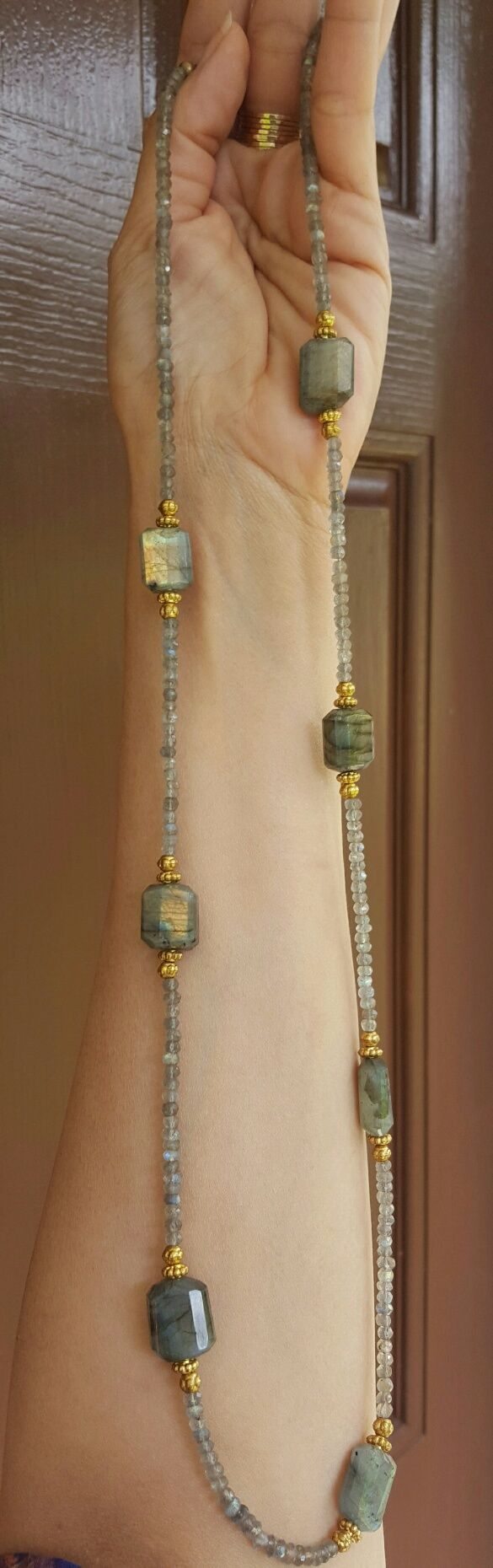 """Faceted Labradorite Necklace./Why can't the """"findings"""" be gold and silver? Gold first then silver or just the opposite."""