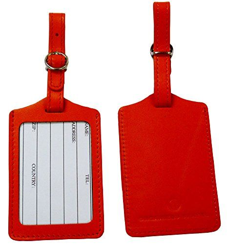 Leather Luggage Tag wOpen Window LT441 Orange2pk *** To view further for this item, visit the image link.