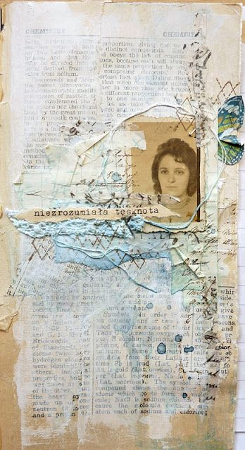Art journal inspiration page. Incorporates text, photographs, paint and thread.