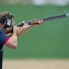 David Kostelecky of the Czech Republic in 2016 Olympic trap shooting action