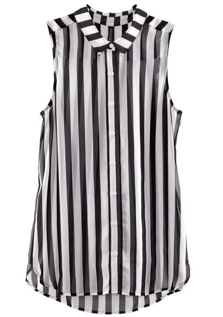 Black White Vertical Stripe Sleeveless Chiffon Blouse US$30.48