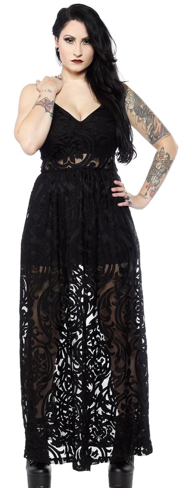 FOLTER NECROMANCE DRESS - Get ready to raise the dead in the Necromance Dress from Folter. This mesh floor length dress features an all-over damask burnout pattern and a built in mini skirt. Perfect for a masquerade, or a night out waking the dead from their eternal slumber.