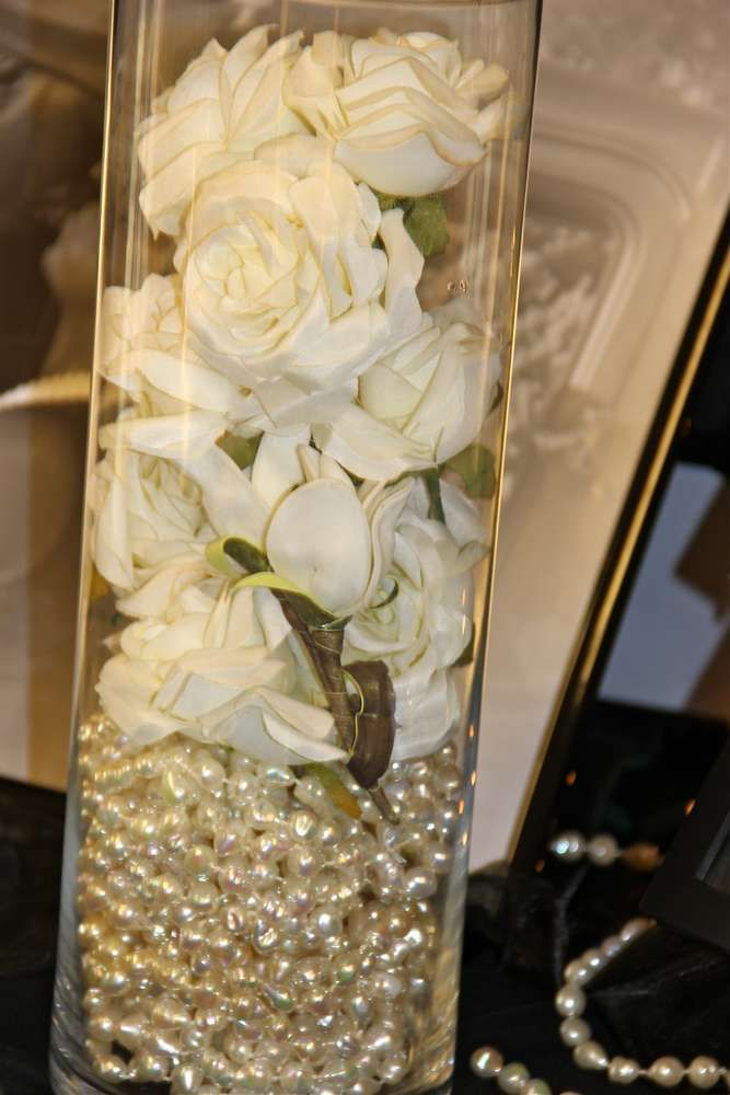 Pearl centerpiece at a Roaring Twenties wedding party! See more party planning ideas at CatchMyParty.com!