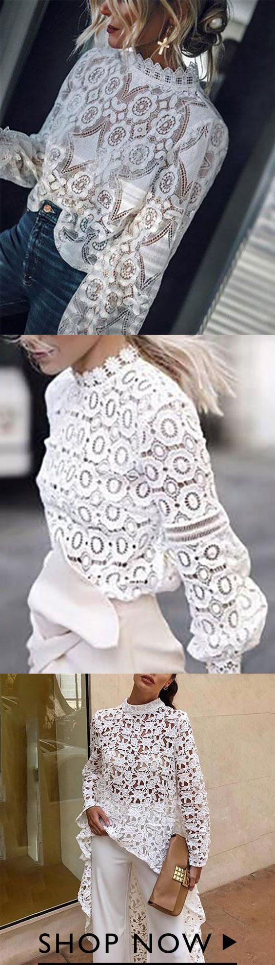 Spring Lace Round Neck Elegant Long Blouses