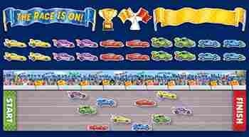 The race is on bulletin board set make setting goals and reaching