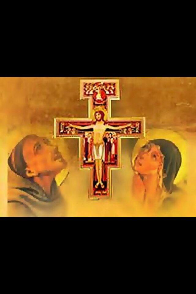¡Los grandes amigos!: San Francisco y Santa Clara!  Aquí con la Cruz de Sn. Damiano... Seguramente Clara lo indujo a ser tierno y amo- roso con todas las criaturas...Tenían en común el amor a Cristo crucificado, amor a los pobres y amor a
