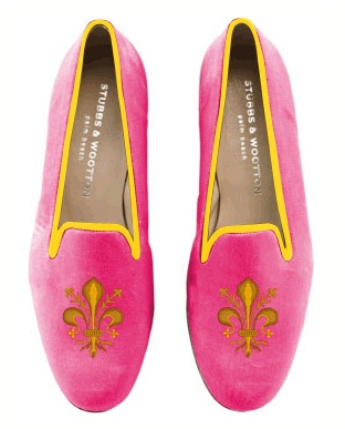 Pink and orange slippers from Stubbs and Wooten.