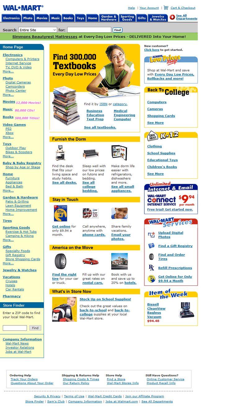 Walmart website in 2002