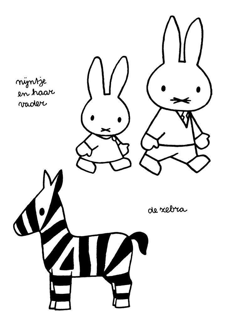 Nijntje en haar vader. De zebra.