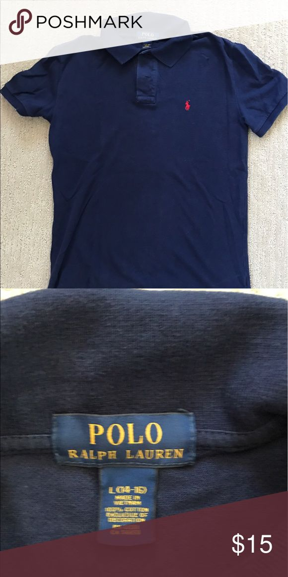 Ralph Lauren navy blue polo shirt, size 14-16 Gently worn, preppy boys short sleeve polo shirt, size 14-16 (L) Polo by Ralph Lauren Shirts & Tops Polos