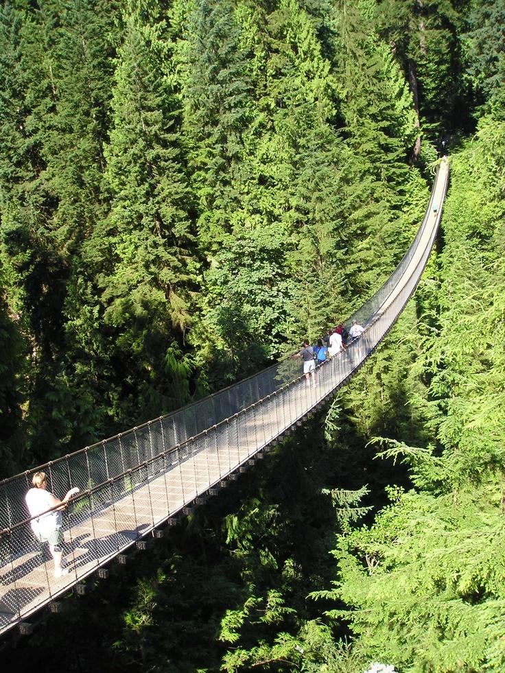 Capilano Suspension Bridge in North Vancouver. 140 meters long.