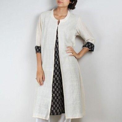 White Khadi Kurta with front slit and black inner