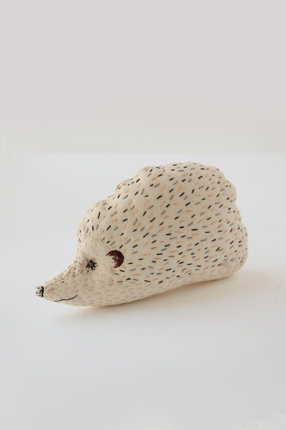 Little Beige Hedgehog Plushie - Stuffed animal toy for baby - Embroidered Upcycled soft toys for children
