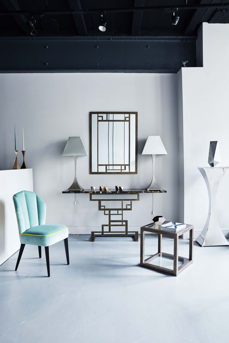 Our Havana chair, Puzzle console, Apollo side table, Capricorn plinth and lamps at our beautiful Chelsea Showroom