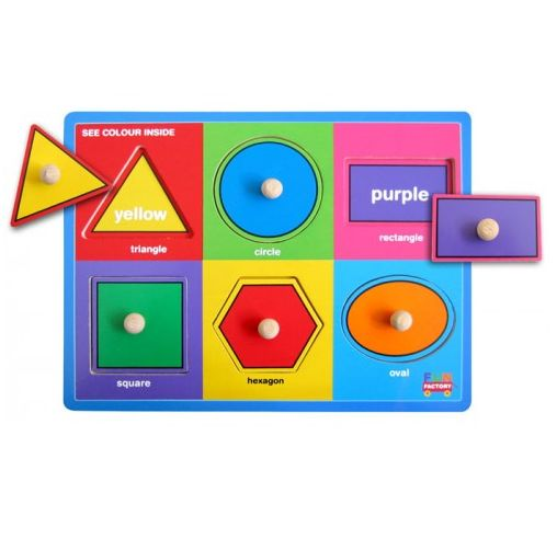 Puzzles for kids that encourage learning while playing and creating happy memories are a must for every child's playroom. This delightfully designed wooden shapes and colours peg puzzle is perfect for hours of fun, engaged, educational play.
