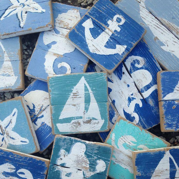 Nautical art on reclaimed wood.