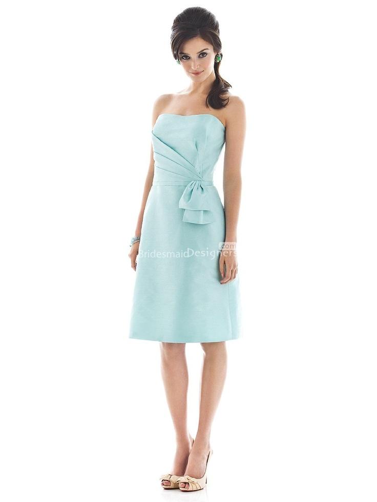 understated light blue knee length sleeveless a-line asymmetrical pleated bridesmaid dress with bow on side waist.US$ 282.00 off US$155.00