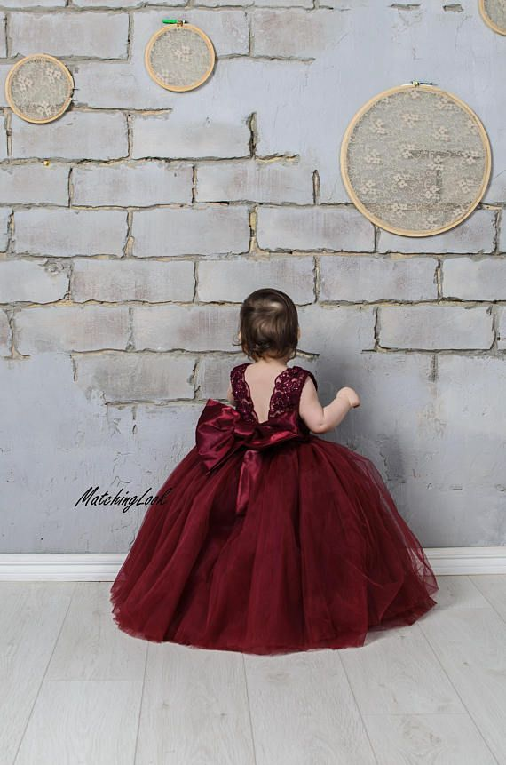 Red Floral Lace Flower Girls Dress Formal Dance Wedding Party