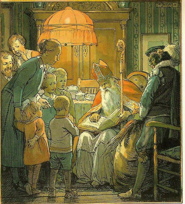 Sint op bezoek,1929 Cornelis Jetses 1873-1955