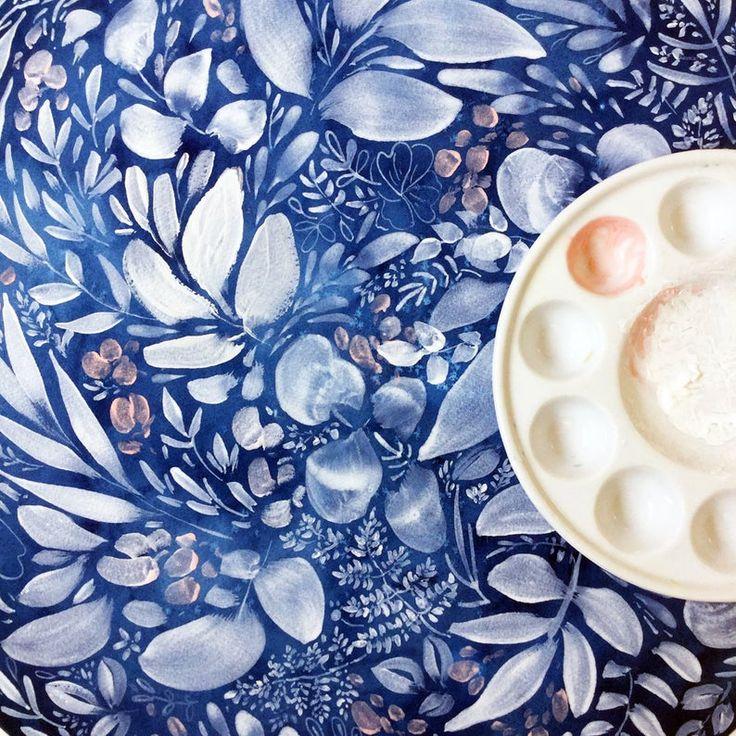 Full flower moon blue moon indigo wall art lunar phases