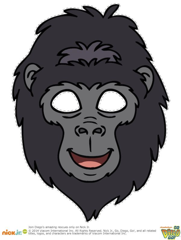free printable kids halloween masks gorilla mask - Kids Halloween Masks