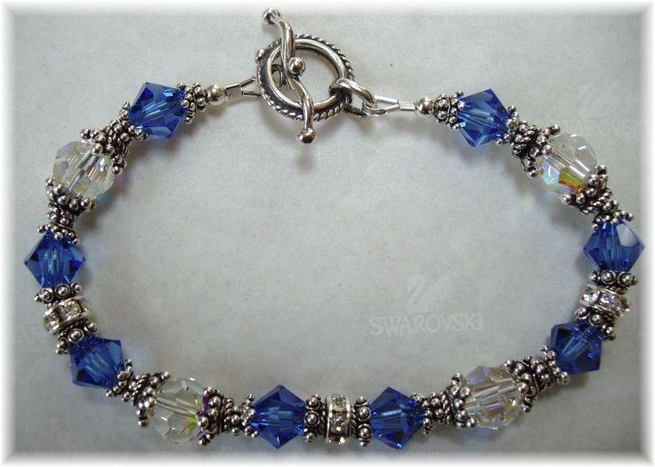 SAPPHIRE Blue Beaded BRACELET made w/SWAROVSKI CRYSTAL, SILVER, SEPT. BIRTHSTONE #Handcrafted #Beaded