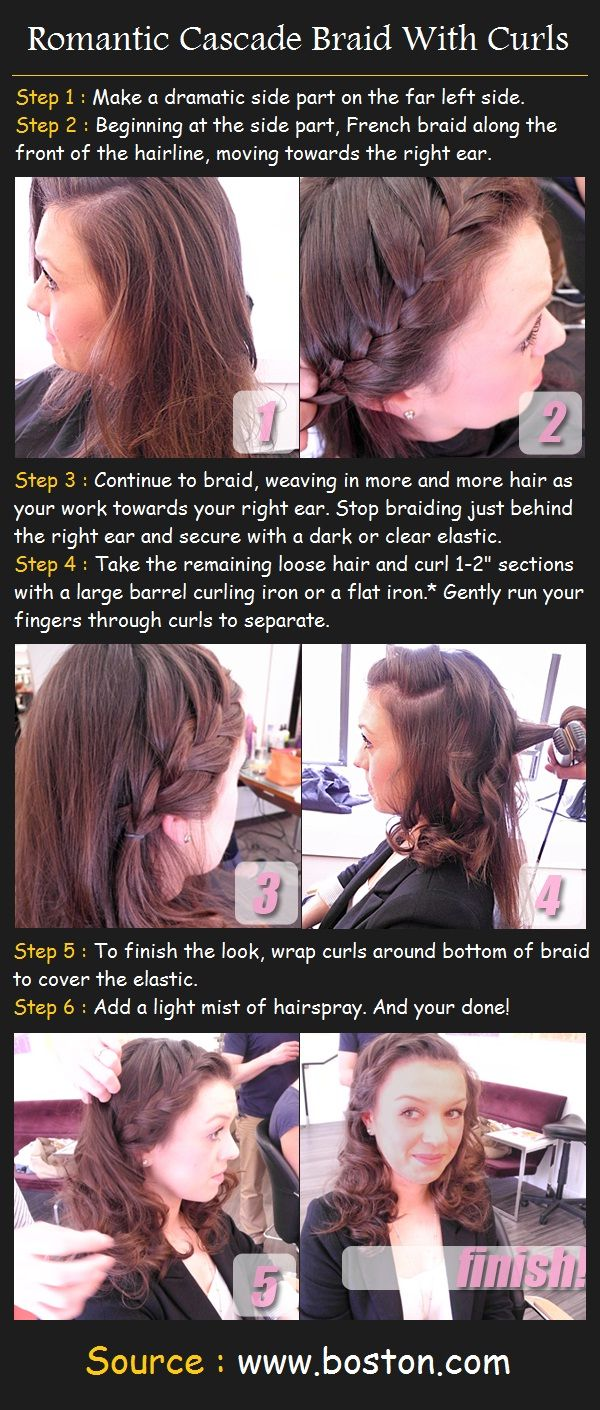 Romantic Cascade Braid With Curls Tutorial | Pinterest Tutorials
