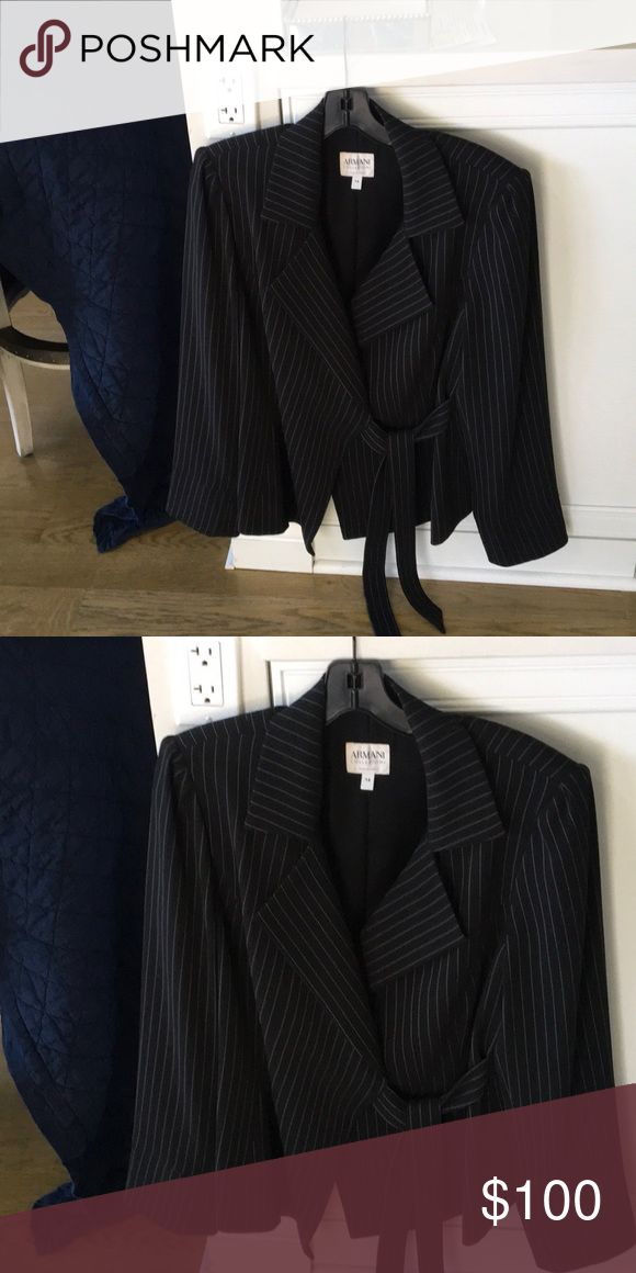 Armani Designer Jacket with T front closure Tie front black with white muted stripes Armani Collezioni Jackets & Coats