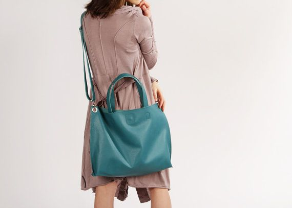 Women Leather Crossbody Tote Bag Michelle Aquamarine by ARadaStore