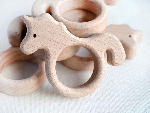Onvoltooide houten Unicorn vorm  houten Unicorn hanger