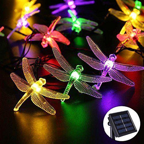 Guirlande solaire Libellule, yuhan 4,8m 16m 20LED Guirlande Lumineuse Solaire étanche Éclairage décoratif pour intérieur ou extérieur,…