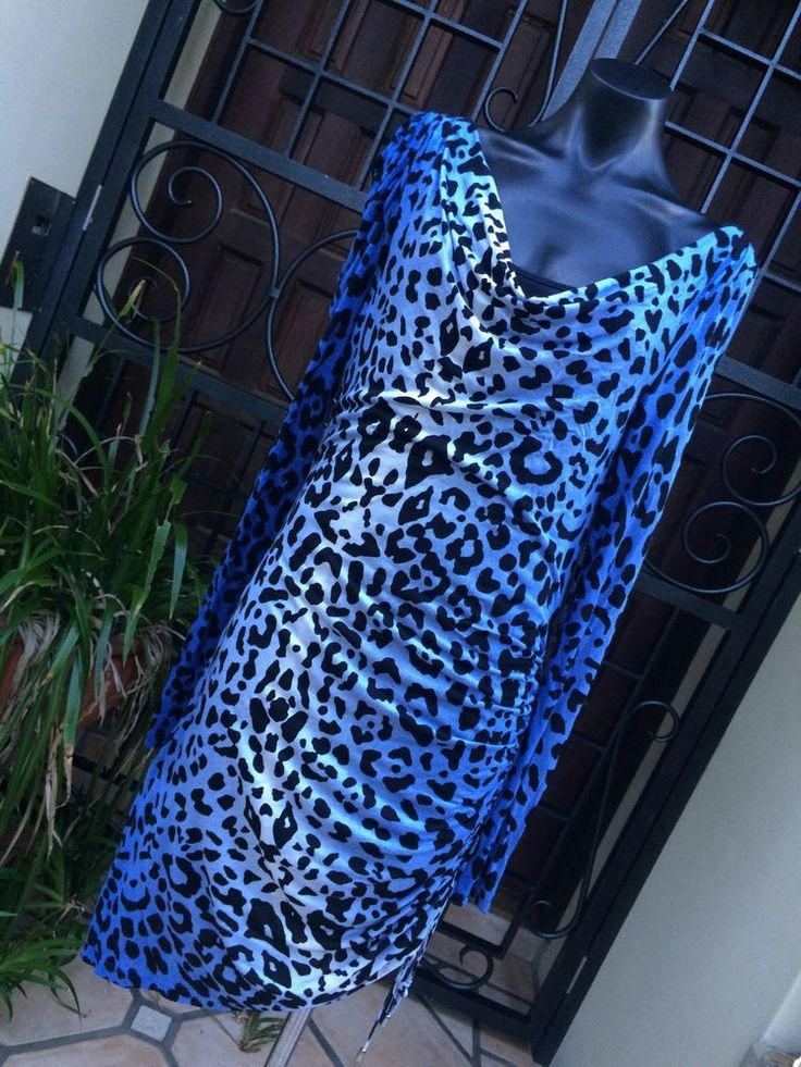 Alice By Temperley Blue & Black Leopard Print Dress, Long Sleeve, Ruched Size 12