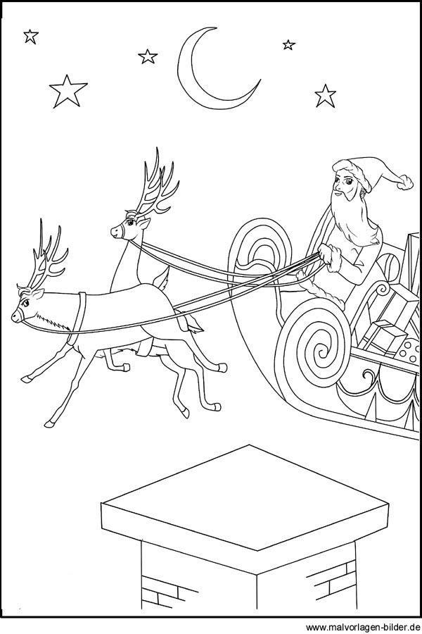 Malvorlag und Ausmalbild vom Weihnachtsmann mit seinem Schlitten und zwei Rentierer