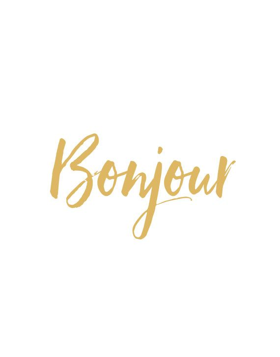 Bonjour print Typography printable Gold by MoonlightPrint on Etsy