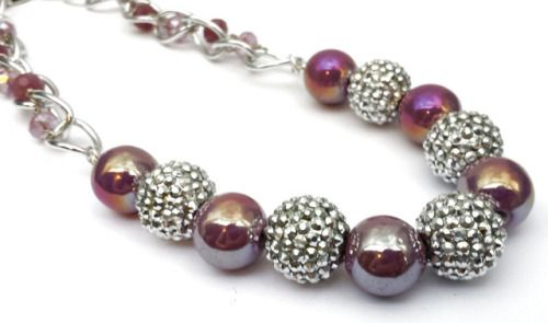 Big chunky iridescent purple porcelain and silver acrylic bumpy beads statement necklace by shinycatcreations http://ift.tt/2znIwYP Free eBook at http://ift.tt/219cweU with easy jewelry making projects.  Big chunky iridescent purple porcelain and silver acrylic bumpy...