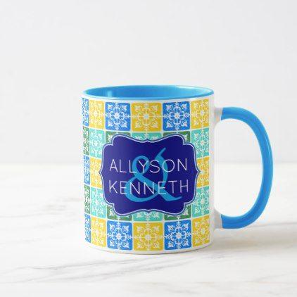 Monogram Trendy Resort Fashion Mediterranean Tiles Mug - spring gifts beautiful diy spring time new year