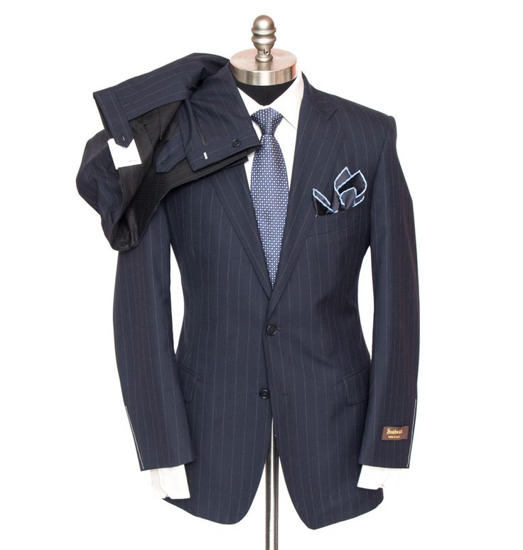 SOUTHWICK 1929 Lawrence Navy Striped All Season Wool 2Btn Suit | Have at it! http://www.frieschskys.com/suits | #frieschskys #mensfashion #fashion #mensstyle #style #moda #menswear #dapper #stylish #MadeInItaly #Italy #couture #highfashion #designer #shop