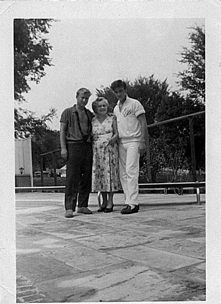 Nick Adams & his mom with Elvis  Elvis July 30, 1957