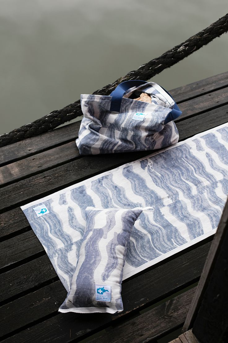 AALLONMURTAJA tote bag, saunapillow and cover, design Reeta Ek,woven by Lapuan Kankurit in Finland to support CLEAN BALTIC SEA project by John Nurminen Foundation