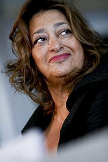 Zaha Hadid (Portrait by Simone Cecchetti), Iraqi-British architect. First woman to receive the Pritzker Architecture Prize, in 2004. Received the Stirling Prize, in 2010 and 2011.