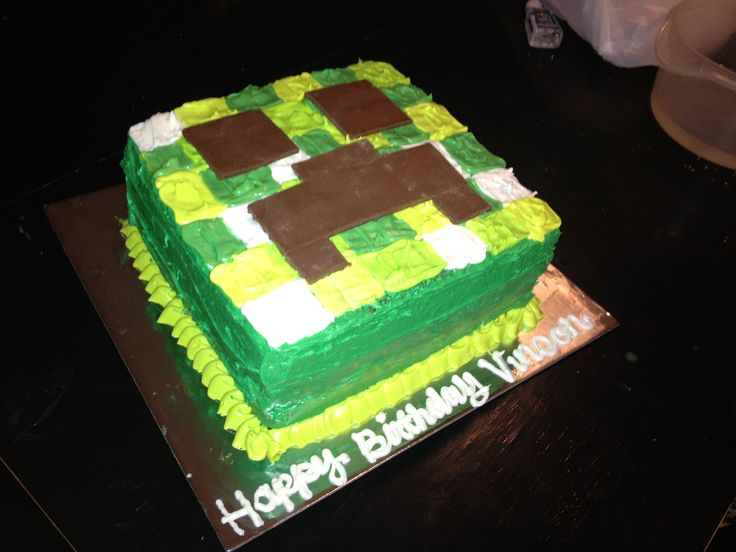 Minecraft Ice Cream Cake
