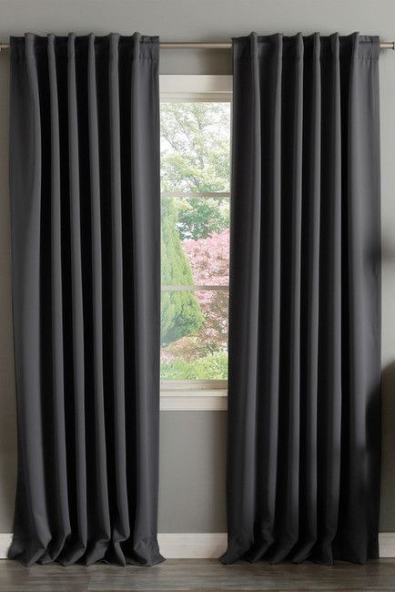 Best Home Fashion Inc. Dark Gray Back Tab Thermal Insulated Blackout Curtains - Set of 2