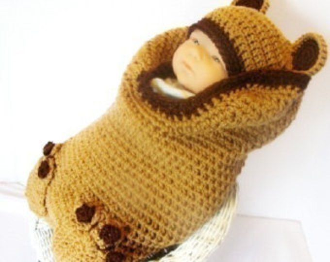 Brown Bear crochet pattern Cocoon and Hat Set pdf 140