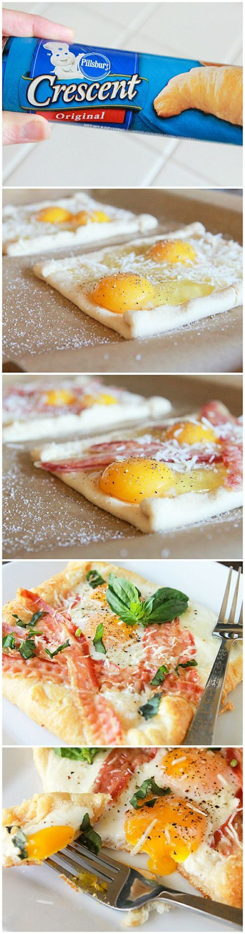 400 degrees - cut one roll in half - pinch up edges 1/2 inch - two eggs & 3 pcs bacon on each - 1 T parm cheese on each - bake 10-15 min. (add fresh parsley)