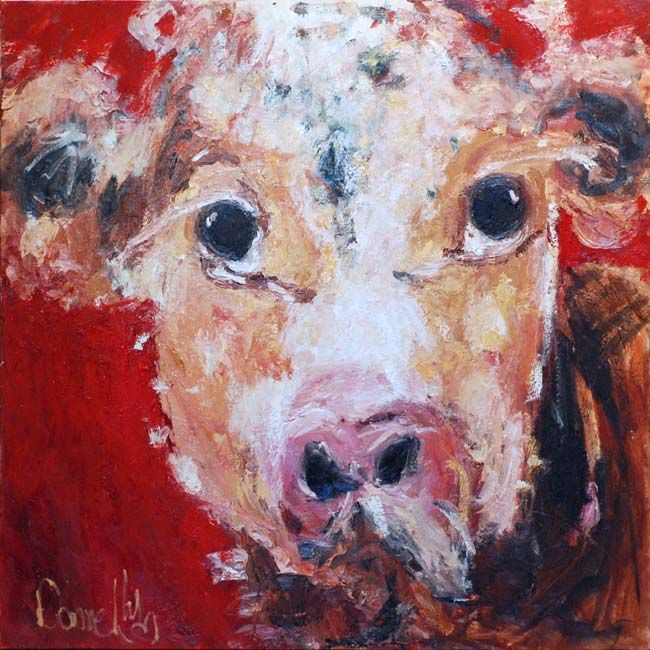 "Deborah Donnelly ""Cow"" #farmanimal #cute #art #painting #fun #DukeStreetGallery"