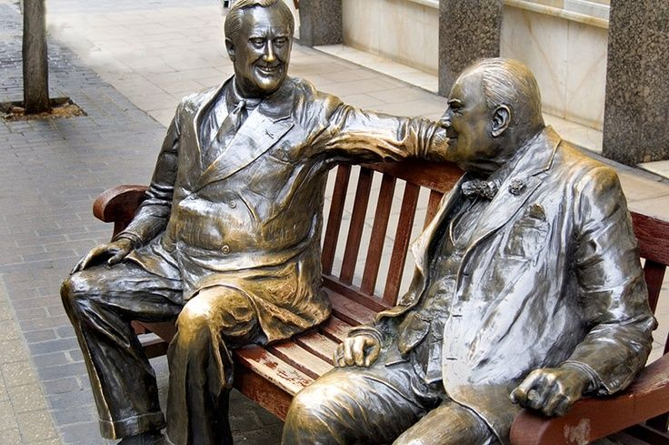 statue of Roosevelt and Churchill in Old Bond Street, London