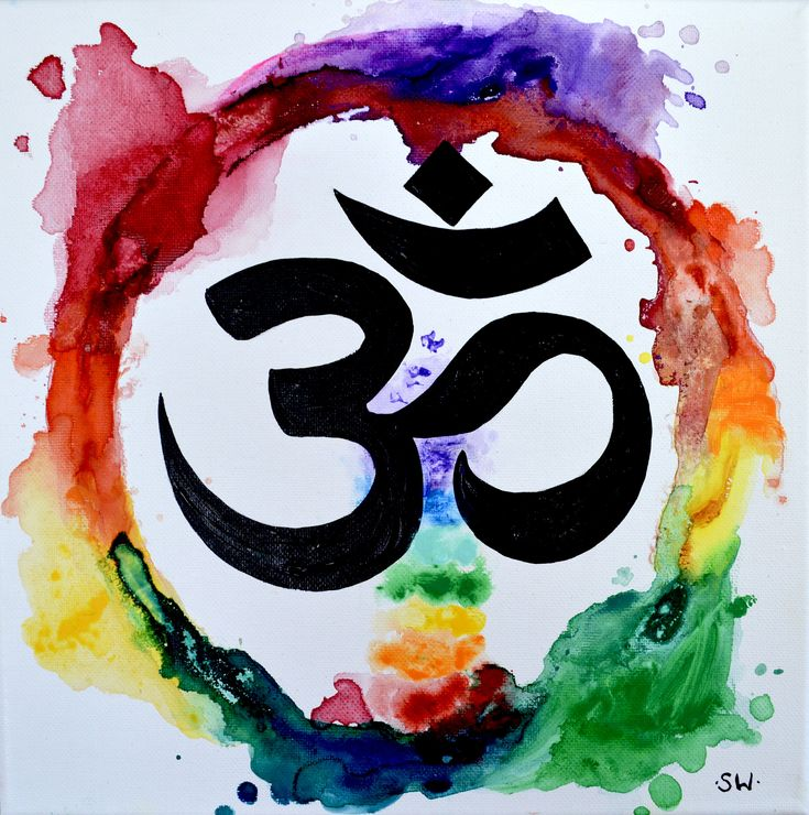Om rainbow meditation ring original painting chakra for Aum indian cuisine